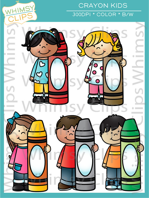 Crayon clipart childern Illustrations clipart crayones Whimsy with