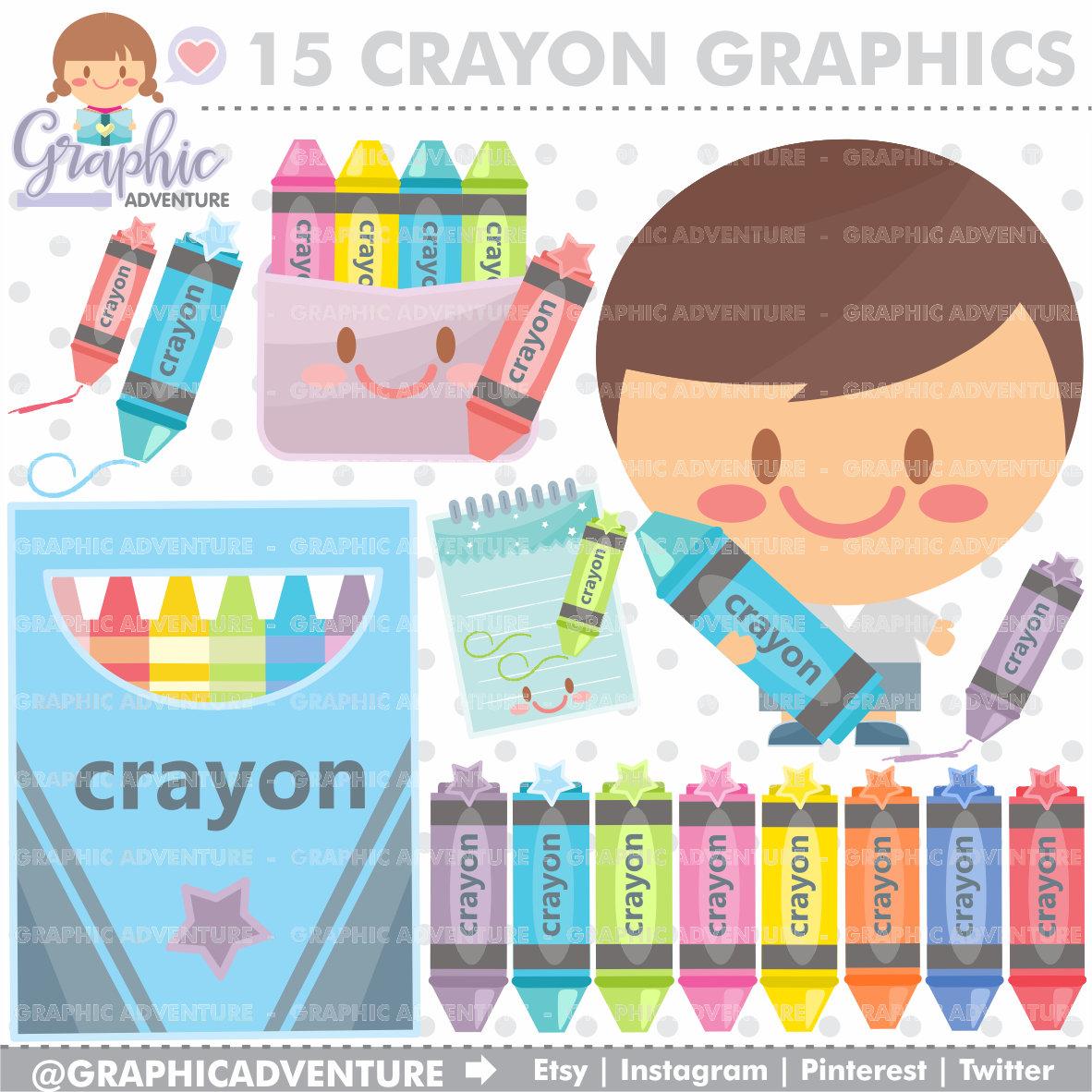 Crayon clipart kawaii Digital Crayon Clipart Clipart COMMERCIAL