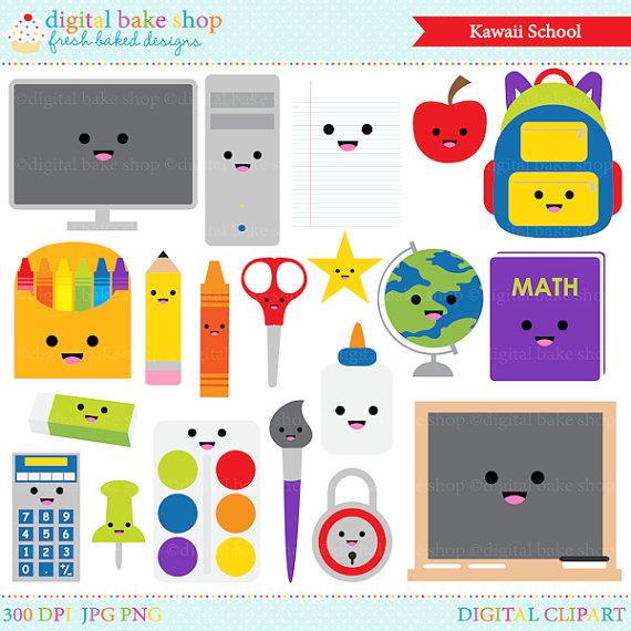 Crayon clipart kawaii Supplies kawaii Art school digital