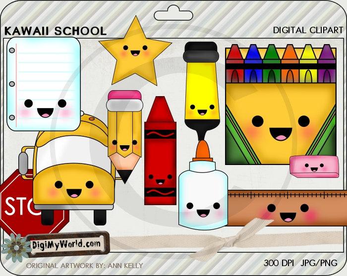 Crayon clipart kawaii  Kawaii early and School