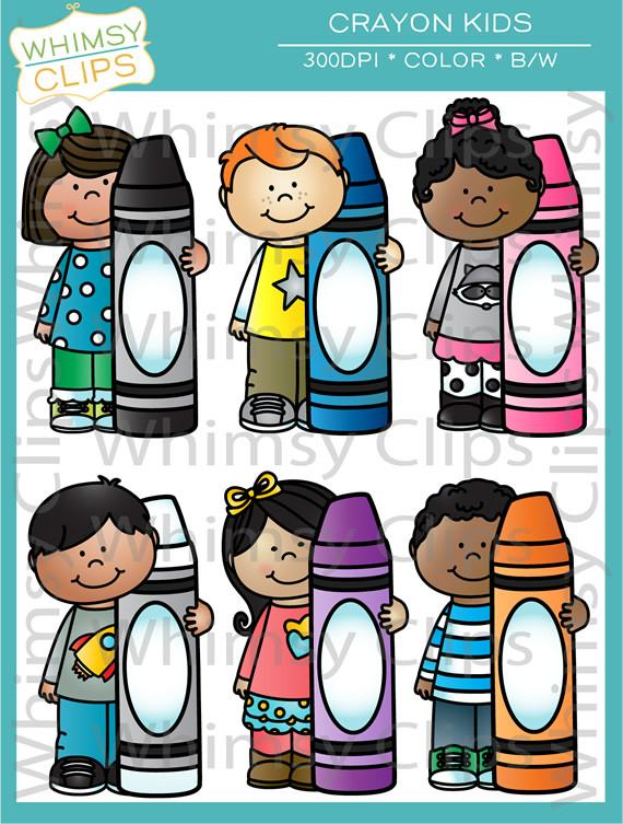Crayon clipart one Clip Kids with Whimsy Crayons