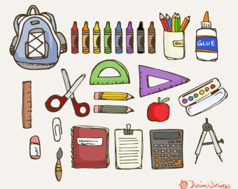 Crayon clipart scissors Rulers Etsy pens notebook use