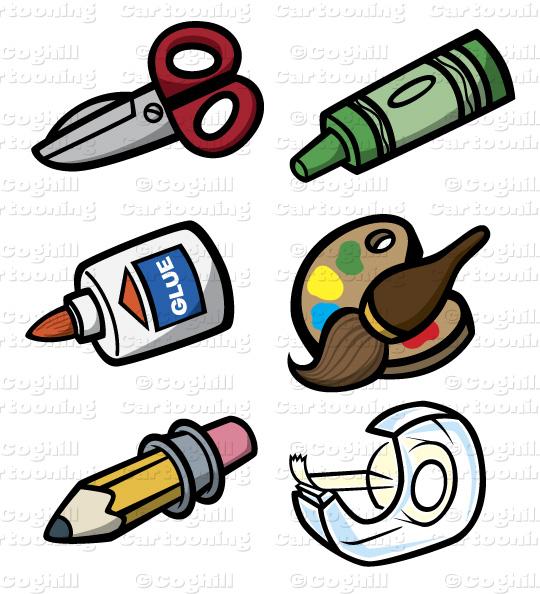 Crayon clipart scissors Cartoon tools: Tools  art