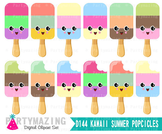 Popsicle clipart kawaii Set set Popsicles set Graphic