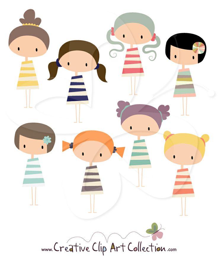 Creative clipart artwork Clip about adorable Girls set