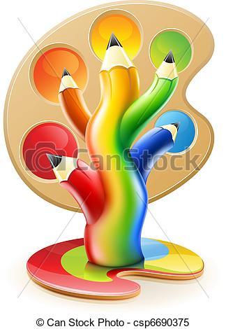 Creative clipart artwork Pencils  tree colour concept