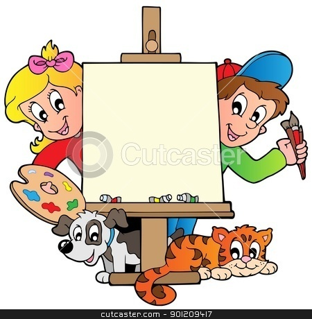 Creative clipart child painting Canvas stock Cartoon painting kids