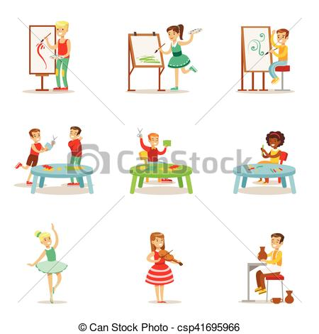 Creative clipart child painting Of And Different Class Set