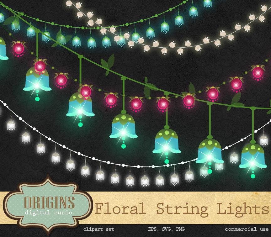 Floral Clipart wedding string Lights