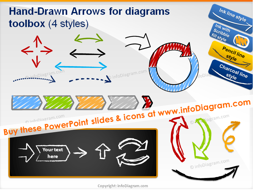 Drawn shapes scrapbook Icons Arrows PowerPoint drawn Essential