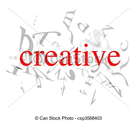 Word clipart creative White Drawings creative words red