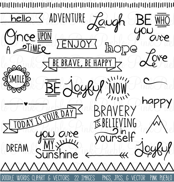 Creative clipart the word Doodles by Creative and and
