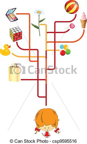 Creative clipart thought In Vector illustration children's thinking