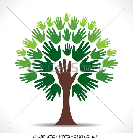 Creative clipart child painting Green tree hand go of