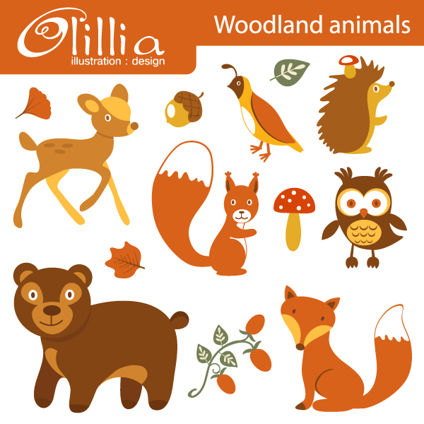 Baby Animal clipart wooden Autumn cliparts Clipart Woodland Animals