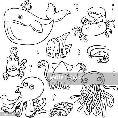 Drawn sea life pencil for kid In and animal style sea