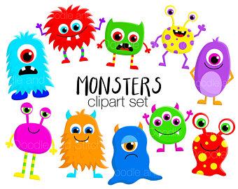 Monster clipart cute monster Illustrations Halloween Set Monsters Cute