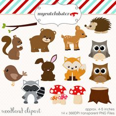 Wood clipart woodlands Download mushrooms animals Set and
