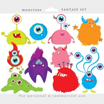 Monster clipart cute monster Colorful clipart clip whimsical aliens