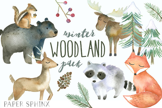 Winter clipart winter animal  Forest Winter Fox Watercolor