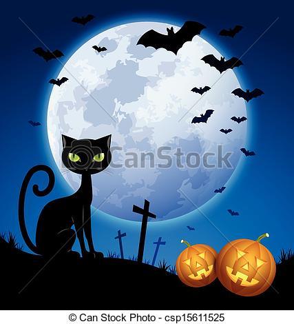 Bat clipart halloween scene Csp15611525 with scene Halloween