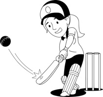 Black & White clipart cricket Black playing cricket girl and