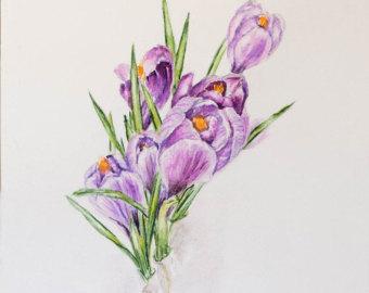 Crocus clipart spring flower Floral art Watercolor art Crocus