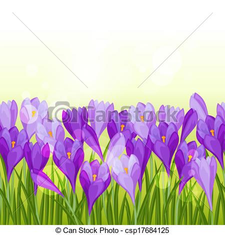 Crocus clipart spring flower Pattern horizontal  csp17684125 flowers