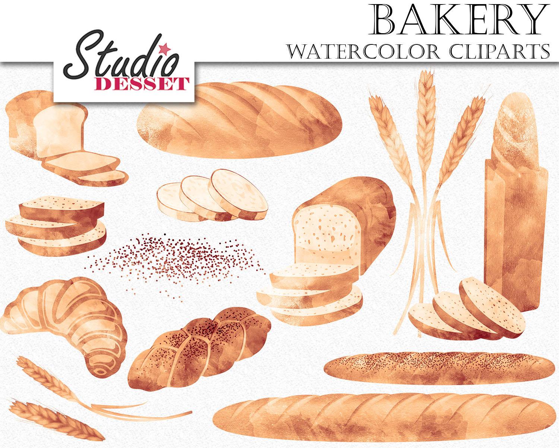 Bread Roll clipart wheat bread Clip Bread Watercolor Croissant Baguette