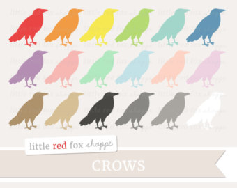 Crow clipart october October Clip Outline Crow Etsy