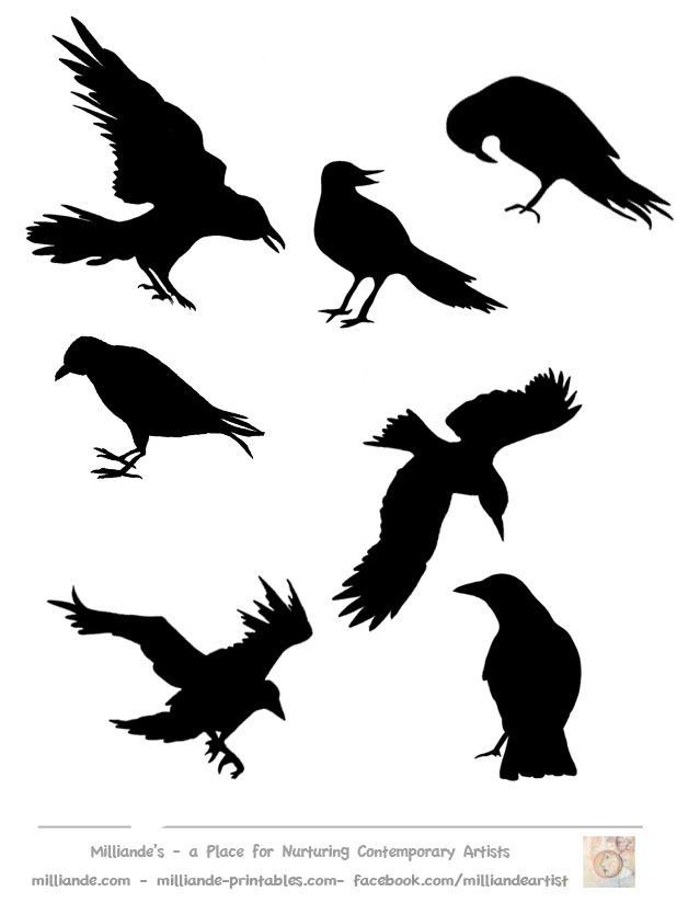 Crow clipart stencil Collection Art Template & Crow