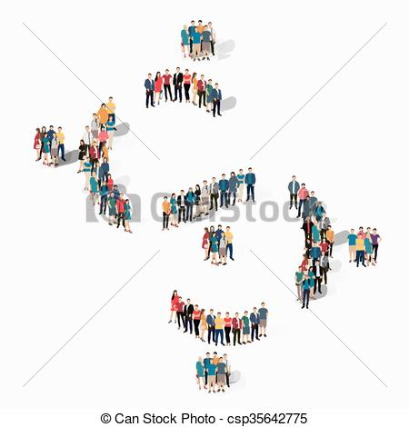 Crowd clipart abstract Vectors Vector people Isometric people