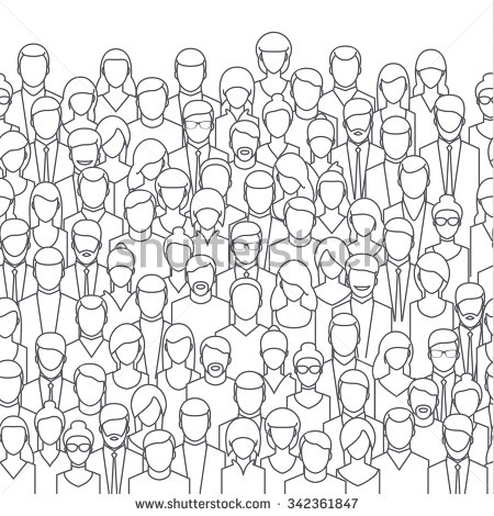 Crowd clipart black and white Crowd  line design abstract