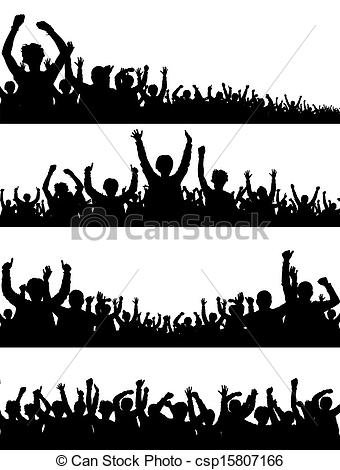 Crowd clipart drawing Crowd Crowd vector  Silhouettes