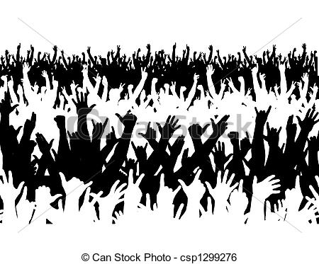 Crowd clipart drawing  Concert large crowd Illustration