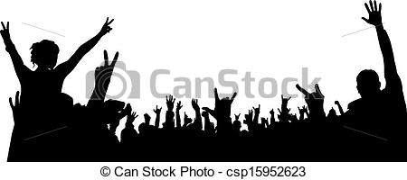 Crowd clipart drawing Vector of Silhouette Crowd Illustration