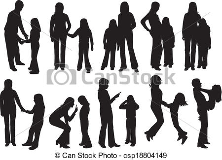 Crowd clipart family shadow Csp18804149 Shadow  Shadow vectros
