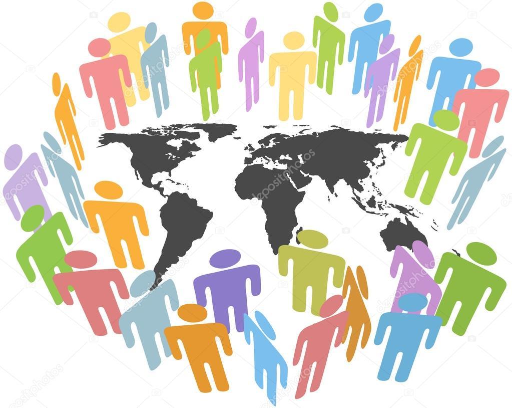 Crowd clipart human population Vector Earth gather map klejonka