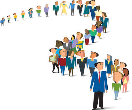 Crowd clipart queue Queue Businessman winding Illustration people
