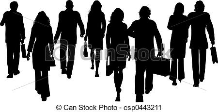 Crowd clipart walking Clipart Silhouettes Business of csp0443211