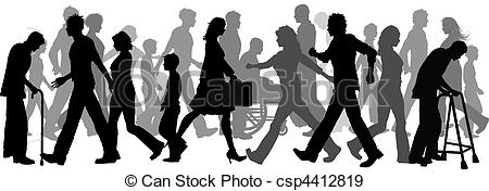 Crowd clipart walking EPS  walking People Vectors