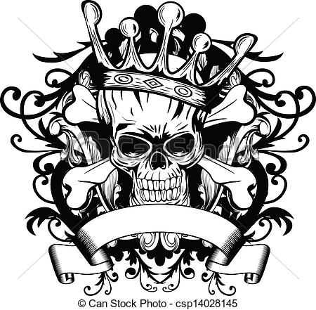 Drawn skull vector Crown crown skull csp14028145 of
