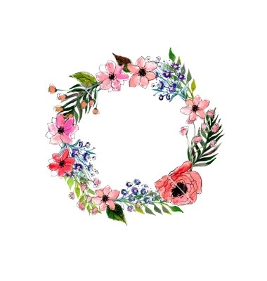 Drawn wreath flower border #12
