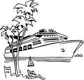 Cruise clipart black and white Cut  white art clip