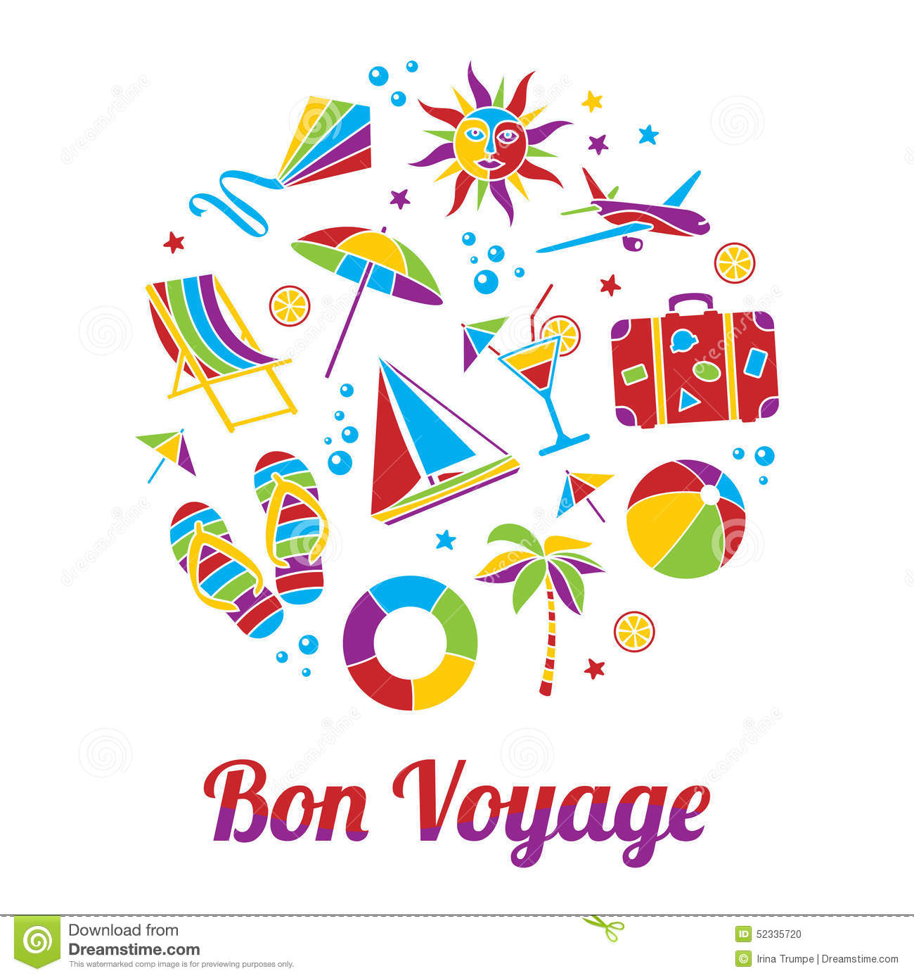 Cruise clipart bon voyage Vector Stock free Card bon