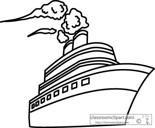 Boat clipart cruise ship Clipart Free Outline Art and