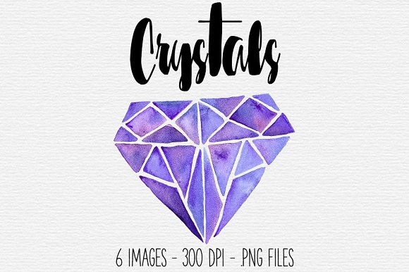 Crystal clipart Clipart Crystal Watercolor Purple Purple