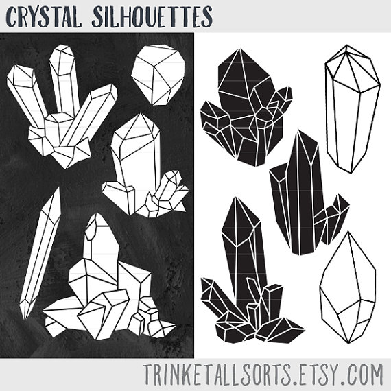 Crystals clipart black and white On Black Crystal Crystal Clip