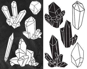 Crystal clipart Black Silhouettes Clipart Art Crystal