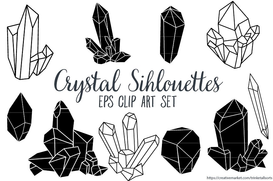 Crystals clipart black and white On Clip Art Creative Illustrations